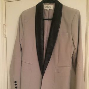 Tan Blazer with Black Faux Leather Trim